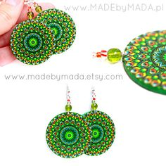 Peacock Green  Round decoupage earrings ,  gift for her under 25. $20.00, via Etsy.