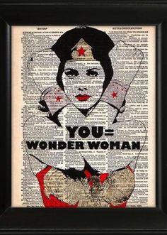 YOU Equals Wonder Woman Art Print Poster, Superhero Illustration, Inspirational…