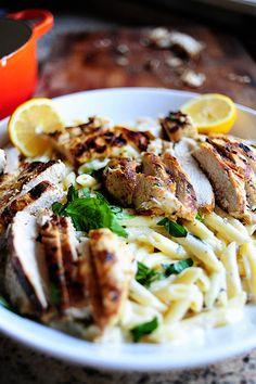 Lemon chicken and basil pasta