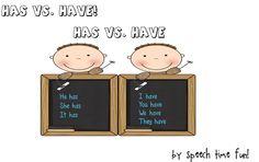 Has vs. - Speech Time Fun: Speech and Language Activities Grammar Activities, Speech Therapy Activities, Language Activities, Teaching Verbs, Teaching Tools, Teaching Ideas, I Love School, School Fun, School Stuff