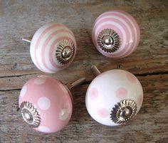 Hand Painted Pink Ceramic Door Knob By Pushka Cupboard Door Knobs, Door Knobs And Knockers, Knobs And Handles, Drawer Knobs, Ceramic Door Knobs, Ceramic Decor, Glass Knobs, Hand Painted Ceramics, White Ceramics