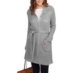 Faded Glory Women's Wing Collar Belted Cardigan Sweater, Size: Small, Gray