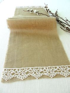 Burlap Table Runner , burlap and lace rustic table runner, country wedding table runner  handmade in the USA, Ready to ship