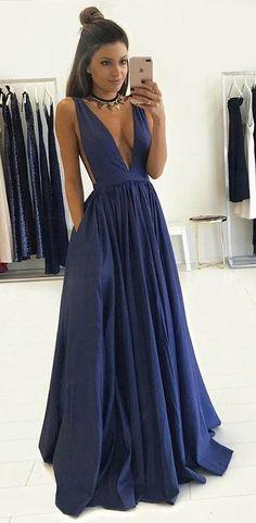 Sexy Prom Dress Deep V Neckline, Prom Dresses, Graduation Party Dresses, Formal Dress For Teens, BPD0343