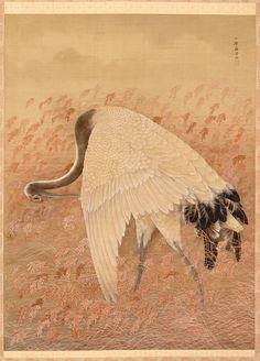 A Crane. Hanging scroll. Artist: Ozawa Nankoku (1844 -?). Meiji era, late 19th century. Japan. Ink and color on silk. Freer.