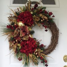 Christmas Wreath-Winter Wreath-Holiday Wreath-Holiday Hydrangea Wreath-Christmas Decor-Designer Wreath-Elegant Holiday Wreath-Luxury Wreath by ReginasGarden on Etsy https://www.etsy.com/listing/252298378/christmas-wreath-winter-wreath-holiday