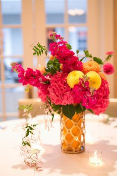 Vibrant centerpiece for an Indian wedding