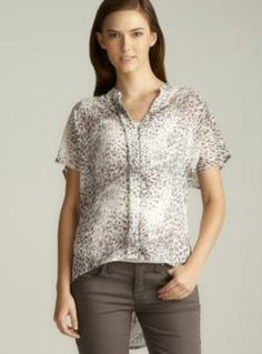 Love Stitch Split Neck Chiffon Hidden Button Down Top