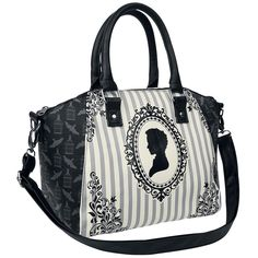 Oryginalna torebka Miss Peregrine - Handbag   Detale: - czaro-szaro-biała torebka z wzorem Miss Peregrine - 2 uchwyty - odpinany pasek na ramię - długośc regulowana: od 66 do 132 cm - postać Miss Peregrine z przodu - motyw klatki na ptaki z tyłu - kieszeń wewnętrzna z zamkiem błyskawicznym - wymiary: około 35 x 24 x 15 cm