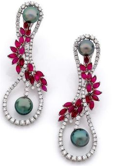 Tahitian pearl, ruby, and diamond earrings