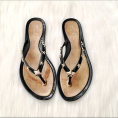❣FINAL PRICE❣Marc Fisher Sandals NWT & box. Black Marc Fisher Sands with gold star hardware detail. Perfect condition, so comfy. Super cute. ❣FINAL PRICE UNLESS BUNDLED❣ Marc Fisher Shoes Sandals