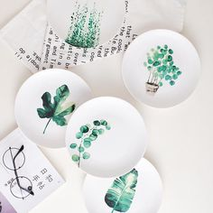 8 and 10 inch Tropical monstera porcelain Dinner Plate tableware dinner set dessert plate dish Pottery Painting Designs, Paint Designs, Ceramic Tableware, Ceramic Pottery, Kitchenware, Fine Porcelain, Porcelain Ceramics, Tropical Dinner Plates, Ceramic Cafe