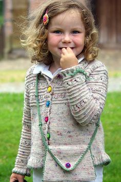 Free Knitting Pattern for Trekking Child's Jacket and Purse - Cardigan knit wi. Free Knitting Pattern for Trekking Child's Jacket and Purse - Cardigan knit with a lace and garter stripe design on yoke. Baby Knitting Patterns, Baby Cardigan Knitting Pattern, Knitting For Kids, Free Knitting, Knitting Ideas, Toddler Sweater, Girls Sweaters, Kind Mode, Knit Crochet