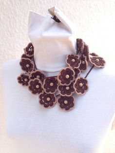 Crochet lariat scarf with Flower in brown with by ArtofAccessory, $25.00