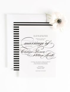 Calligraphy Wedding Invitations in Black and White Stripes Shine Wedding Invitations, Discount Wedding Invitations, Wedding Invitation Etiquette, Black And White Wedding Invitations, Invites, Fancy Fonts, Affordable Wedding Venues, Wedding Planning Checklist, Johnson And Johnson