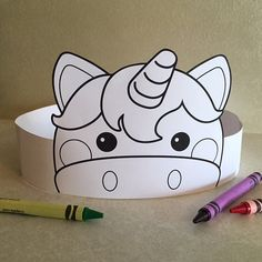 Create your own Unicorn Crown! Print, color, cut & glue your crown together & adjust to fit anyones head!  • A .pdf file available for instant