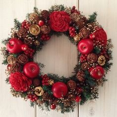 クリスマスリースB(20cm) Christmas Flowers, Christmas Deco, Christmas Wreaths, Xmas, Rope Shelves, Wooden Shelves, Window Swags, Ornament Wreath, Ornaments