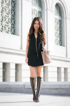Reach for black shift dress for a stylish office ensemble. Rock a pair of black leather knee high gladiator sandals for a more relaxed aesthetic.   Shop this look on Lookastic: https://lookastic.com/women/looks/black-shift-dress-black-knee-high-gladiator-sandals-beige-bucket-bag-gold-pendant/11154   — Gold Pendant  — Black Shift Dress  — Beige Leather Bucket Bag  — Black Leather Knee High Gladiator Sandals