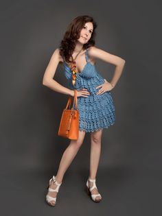 Blue electric exclusive crochet dress