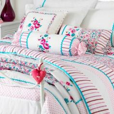 Appleby Romany Floral Filled Boudoir Cushion, White/Pink/Kingfisher, 30 x 50 Cm: Amazon.co.uk: Kitchen & Home