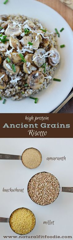 Turn back the hands of time and savour this ancient grains risotto. It's a nourishing hearty dish you're sure to enjoy!Vegan and gluten free! Best Gluten Free Recipes, Gf Recipes, Veggie Recipes, Real Food Recipes, Cooking Recipes, Healthy Recipes, Recipies, Healthy Foods, Grain Foods
