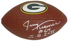 Jerry Kramer Signed Green Bay Packers Logo Football w/SB I, II - Schwartz COA