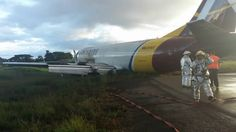 NEWS Aer Caribe Boeing 737-476 (HK-5197) overruns the runway on landing at Leticia-Alfredo Vásquez Cobo Airport, Colombia. (28-JAN-2017).