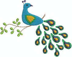 Digital Embroidery Designs  Peacock by EmbroideryDesignsBRN