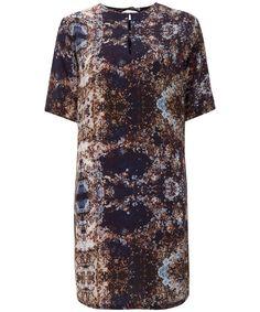 Kalda Abstract Print Silk T-Shirt Dress