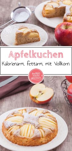 saftig This sunken apple pie with spelled flour is incredibly juicy and delicious. The healthy apple cake with whole grain is also low in fat and calories. Healthy Apple Cake, Healthy Baking, Toast Pizza, Apple Pie, Chocolate Cake, Fett, Cake Recipes, Sweets, Cooking