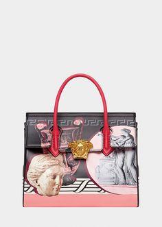 Versace Magna Grecia Pop Black Palazzo Empire Bag for Women Luxury Bags, Luxury Handbags, Fashion Handbags, My Bags, Purses And Bags, Painted Bags, Hand Painted, Greek Statues, Versace Bag