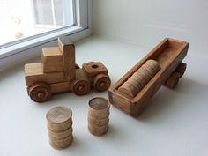 Wooden Tractor Trailer Truck Set Preschool por AlaratessAlexbres