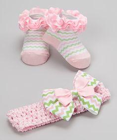 Look at this #zulilyfind! Vitamins Baby Light Pink & Green Zigzag Bow Headband & Ruffle Socks by Vitamins Baby #zulilyfinds