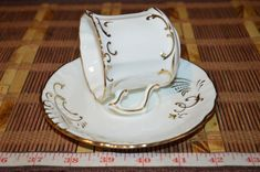 Hammersley & Co. China White w/ Gold Embossed Design Tea Cup & Saucer #Unknown #HammersleyCo