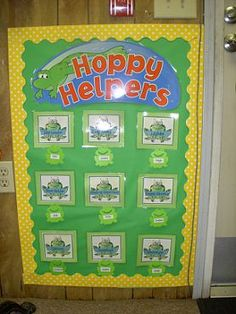Cute frog themed classroom (a little overboard though for my liking)