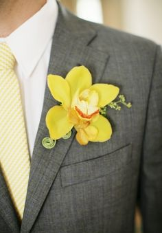 70 Grey And Yellow Wedding Ideas For Spring And Summer Weddings | HappyWedd.com  ((tie and orchid))