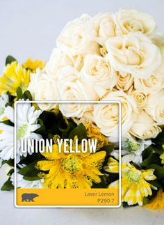 What better place to get color inspiration from than your wedding bouquet! Capture the bright yellow and cream tones of your special day by checking out Behr's Color A Memory campaign—who knows, it may become a one-of-a-kind paint color.