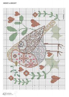 PATRONES PUNTO DE CRUZ GRATIS: Gráfico de un bello cojín con un precioso pájaro a punto de cruz gratis
