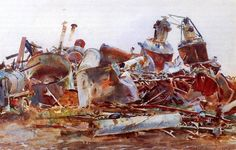 John Singer Sargent    A Wrecked Sugar Refinery Date: 1918 Style: Realism Genre: cityscape Media: watercolor, paper Dimensions: 55.88 x 71.12 cm Gallery: Imperial War Museum, London