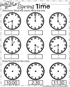 First Grade Clock Worksheets - Spring Math Worksheets for April. Clock Worksheets, First Grade Worksheets, Reading Worksheets, 1st Grade Math, Grade 1, Summer Worksheets, Grade Spelling, School Worksheets, Math Help
