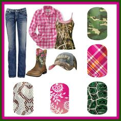 Evey girl needs some pink and some camo in her wardrobe ;)  Jamberry nail wraps are chemical free, no chipping, no drying time, last for 2wks on avg, and easy to apply! Order online OR contact me to host a FB party and earn FREE products! www.facebook.com/kmcjamberrynails.net  Don't forget there are wraps for juniors as well as adults! :)   #forher #fashion #nails #nail #wraps #camo #pink #country #style #boots #jeans #flannel #gift #under20 #earnfree #jamberry
