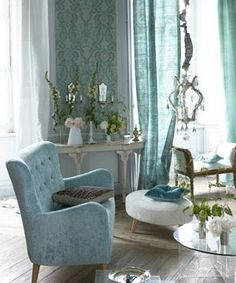 House of Turquoise: Designers Guild Love Vert Turquoise, House Of Turquoise, Turquoise Cottage, Interior Exterior, Home Interior Design, Pretty Room, Furniture Upholstery, Upholstery Fabrics, Colors