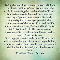 President Obama tribute to Prince