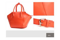 Medium leather totes bag made in plain colour or two-colour with handles and strap by DuDu on www.dudubags.net Italia. Orange.
