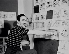 Walt Disney reviewing the boards for Pinocchio