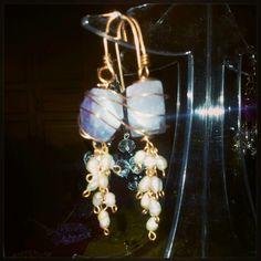 Orecchini artigianali rame, ametista e perle di fiume