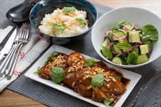 Hoisin-Glazed Chicken Thighs with Sticky Rice & Marinated Cucumber Salad. Visit https://www.blueapron.com/ to receive the ingredients.