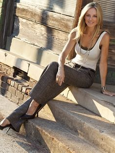 Layered tanks with slacks and heels.  This is lovely and feels like a transition between work and play.
