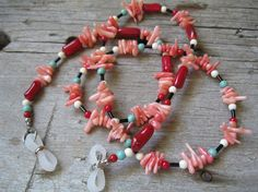 Funky Peach and Red Coral Beaded Eyeglass Chain by Finding Charm http://ow.ly/eg76w  sweet! #HAF #HAFteam