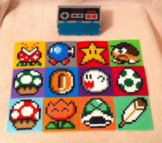 Mario Coaster Set with Nintendo Controller Holder perler beads by MeltyCreations